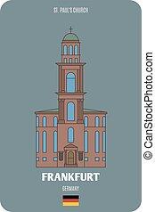 europeo, architettonico, simboli, città, francoforte, germany., paul, chiesa, st.