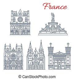 europeo, punto di riferimento, francese, viaggiare, icona, chiese