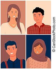 europeo, races., musulmano, immagine, differente, women., ommunity, nations., persone, set, appartamento