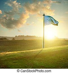 europeo, tramonto, unione, paesaggio, bandiera