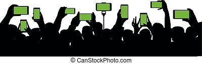 event., concerto, silhouette, presa a terra, folla, persone, mobile, audience., allegro, dischi, vettore, video, fondo, mani, telefono., bianco, smartphone