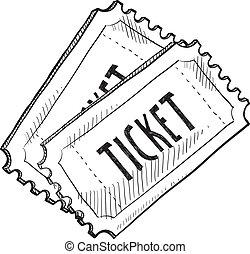 evento, schizzo, biglietto