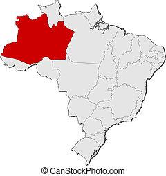 evidenziato, mappa, amazonas, brasile