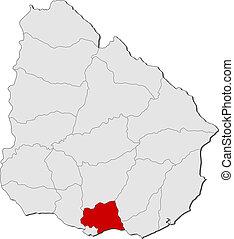 evidenziato, mappa, canelones, uruguay