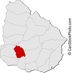 evidenziato, mappa, flores, uruguay