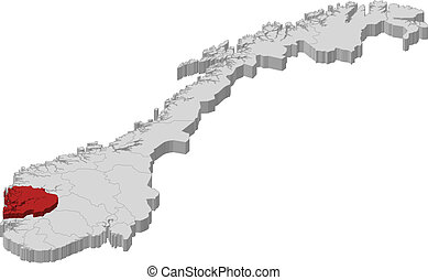 evidenziato, mappa, hordaland, norvegia