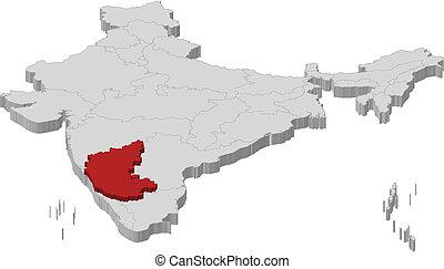 evidenziato, mappa, karnataka, india