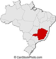 evidenziato, mappa, minas, brasile, gerais