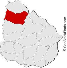 evidenziato, mappa, salto, uruguay