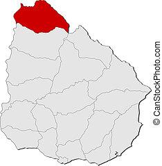 evidenziato, mappa, uruguay, artigas
