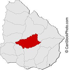 evidenziato, mappa, uruguay, durazno