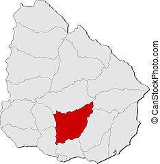 evidenziato, mappa, uruguay, florida
