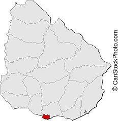 evidenziato, mappa, uruguay, montevideo