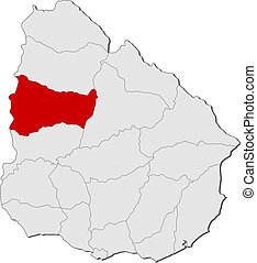 evidenziato, mappa, uruguay, paysandu