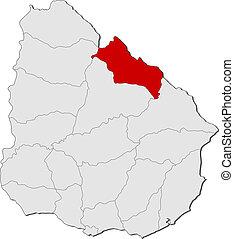 evidenziato, mappa, uruguay, rivera