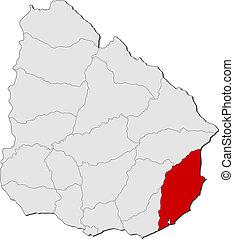 evidenziato, mappa, uruguay, rocha