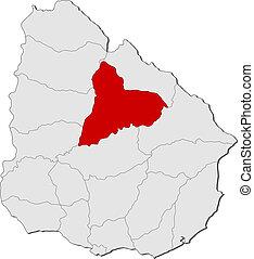 evidenziato, mappa, uruguay, tacuarembo