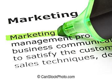 evidenziato, 'marketing', verde