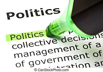 evidenziato, 'politics', verde