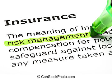 evidenziato, 'risk, management', 'insurance', sotto