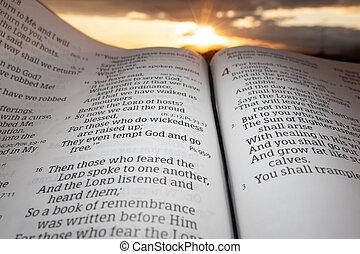 evidenziato, tramonto, malachi, fondo, santo, aperto, capitolo, bibbia, 4, sole, nubi, 2., verso