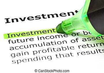 evidenziato, verde, 'investment'