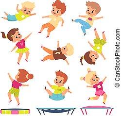 exercises., differente, poses., bambini, bambini, volare, infantile, ragazzi, persone, ginnastica, play., saltare, cartone animato, giovane, rimbalzo, attivo, trampolines., fitness., giochi, vettore, ragazze