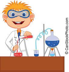 experime, ragazzo, chimico, cartone animato