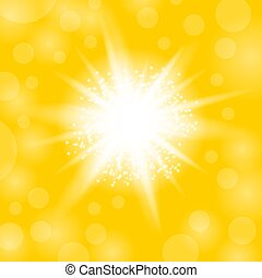 explosion., stella, starburst, giallo, ardendo, sfavillante, fondo, luce, scintille