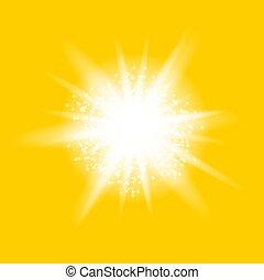 explosion., stella, starburst, sfavillante, luce ardente, scintille
