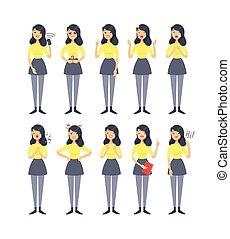 expressions., ragazza, vettore, isolato, woman., disegno, character., emotivo, cartone animato, mano, appartamento, emoticon, illustration., stile, disegnato, set, differente, facciale, emozione