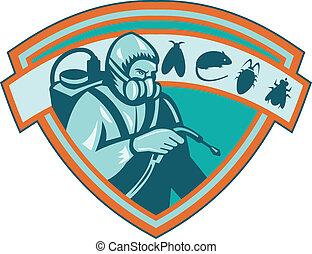 exterminator, controllo, peste, scudo, lavoratore
