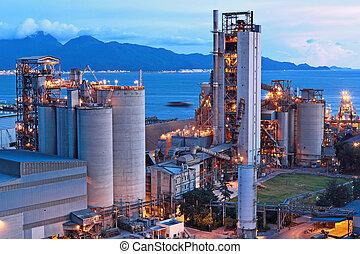 fabbrica, cemento, notte