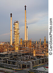 fabbrica, raffineria, tramonto, olio