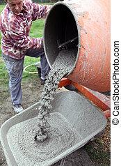 fabbricazione, artigiano, cemento
