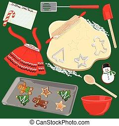 fabbricazione, biscotti, cottura, natale