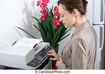 fabbricazione, donna, copie, affari