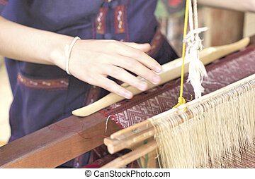 fabbricazione, fatto mano, filo, tessitura