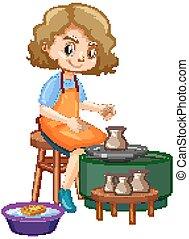fabbricazione, fondo, argilla, bianco, cartone animato, carattere, ceramica, ragazza