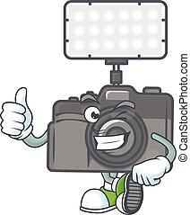 fabbricazione, gesto, macchina fotografica, mascotte, foto, pollici, illuminazione, icona