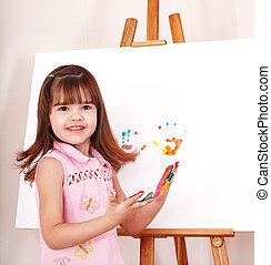 fabbricazione, paint., handprints, capretto