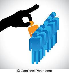 fabbricazione, persona, altro, grafico, candidati, ditta, hr, scegliere, meglio, mostra, mano destra, silhouette, scelta, lavoro, abilità, molti, employee., illustrazione, rappresentato, concetto