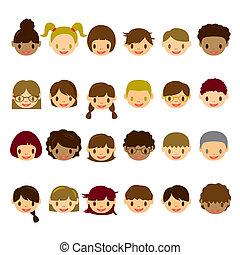 faccia, bambini, set, icone