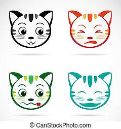 faccia, immagine, vettore, gatto