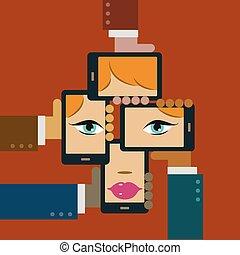 faccia, media, sociale