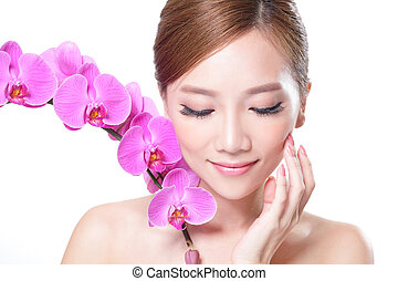 faccia, orchidee, bello