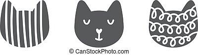 faccia, scandinavo, gatto, perfetto, cartelle, vivaio, print., infantile, illustrazione, t-shirt, carino, manifesto, nordico, abbigliamento, vettore, decoration.