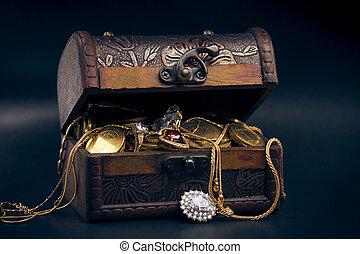 faccia tesoro torace, monete, oro