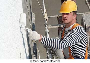 facciata, costruttore, lavoro, pittore