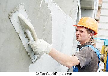 facciata, costruttore, lavoro, stuccatore